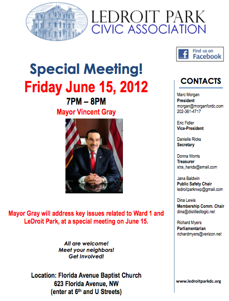 Join us for a Special Meeting, Friday, June 15, 2012- Mayor Vincent Gray