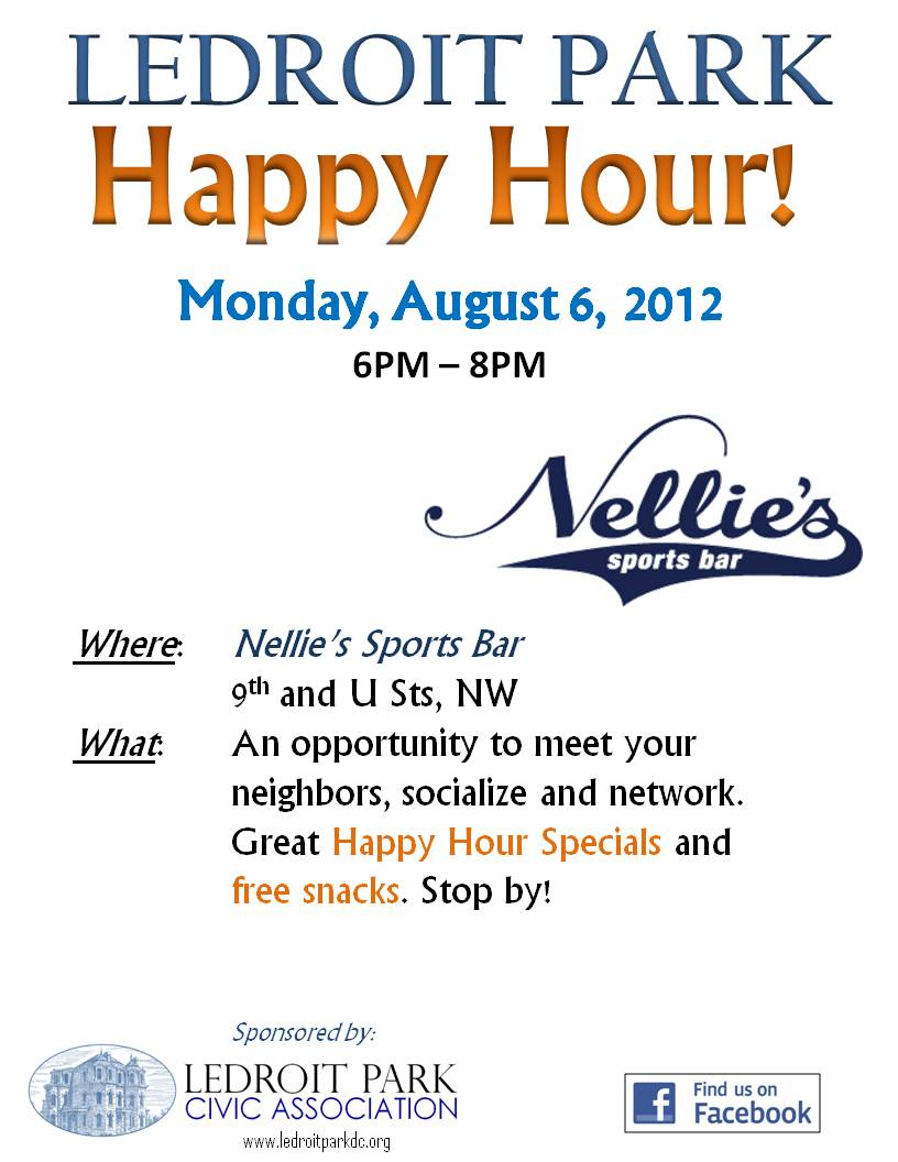 LeDroit Park Happy Hour @ Nellie's 6-8 pm 8/6/12