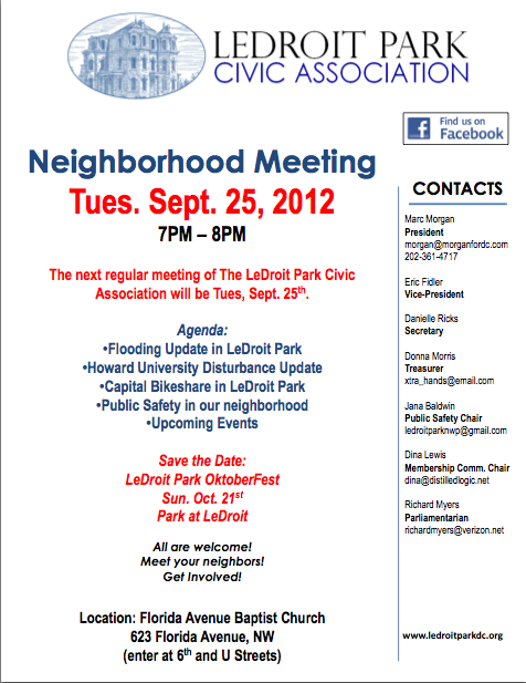LeDroit Park Civic Association September 25th, 2012 Meeting Agenda