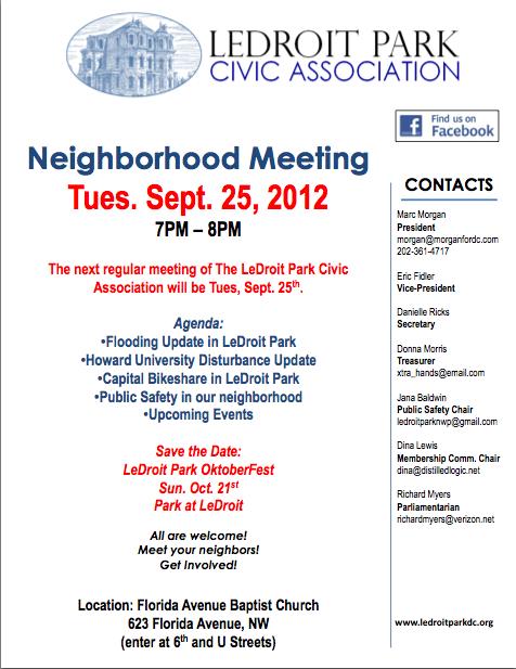 LeDroit Park Civic Association September 25th, 2012 Meeting Agenda