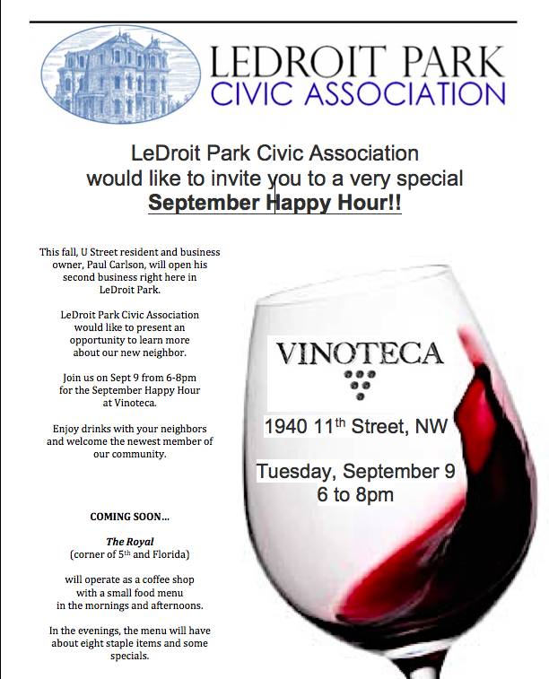 {You're Invited} The LeDroit Park Civic Association September Happy Hour!