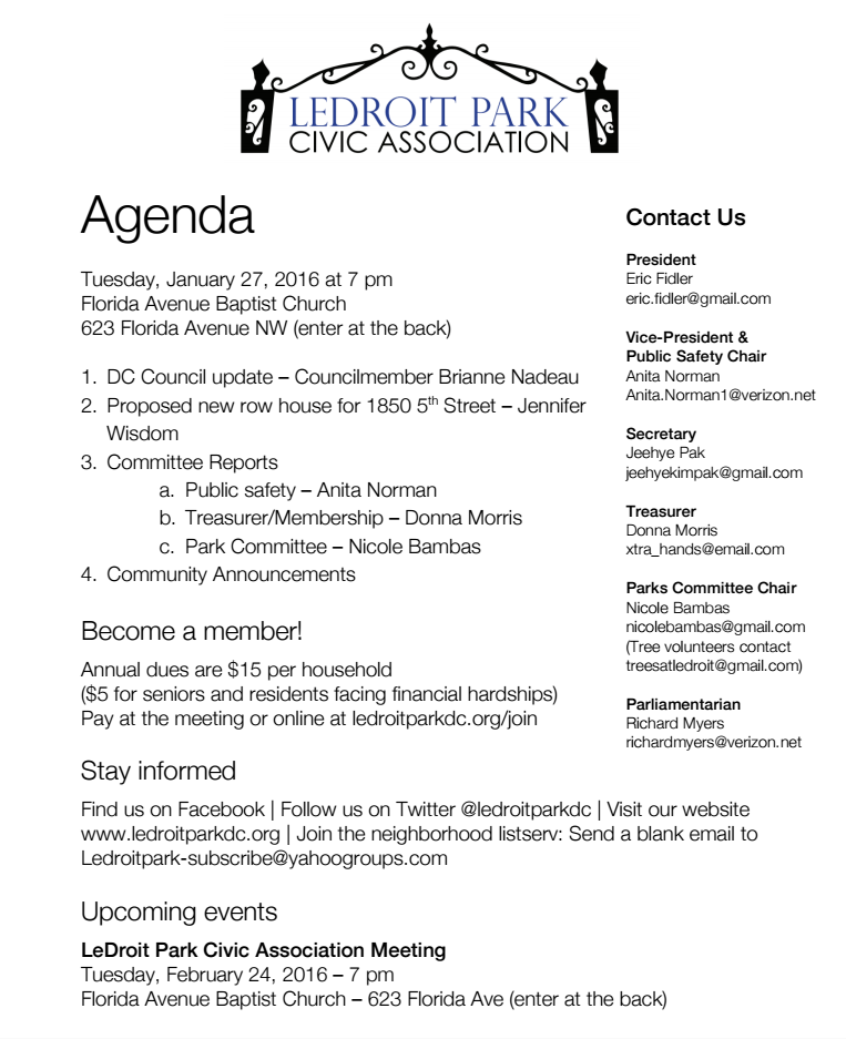 January 2016 LPCA Meeting Agenda–MEETING CANCELLED