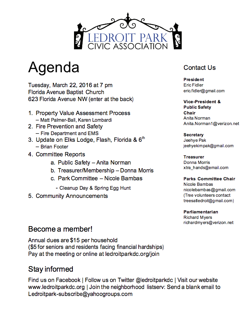 MARCH 2016 LPCA Meeting Agenda