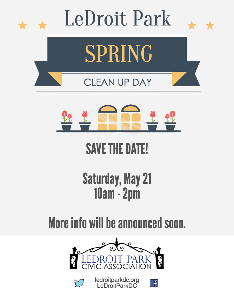 LeDroit Park Spring Clean Up Day – Sat, May 21st 10am-2pm