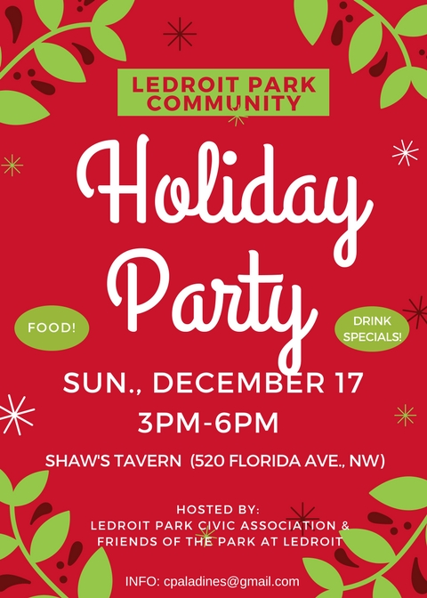LeDroit Park Community Holiday Party @ Shaw's Tavern (upstairs) | Washington | District of Columbia | United States