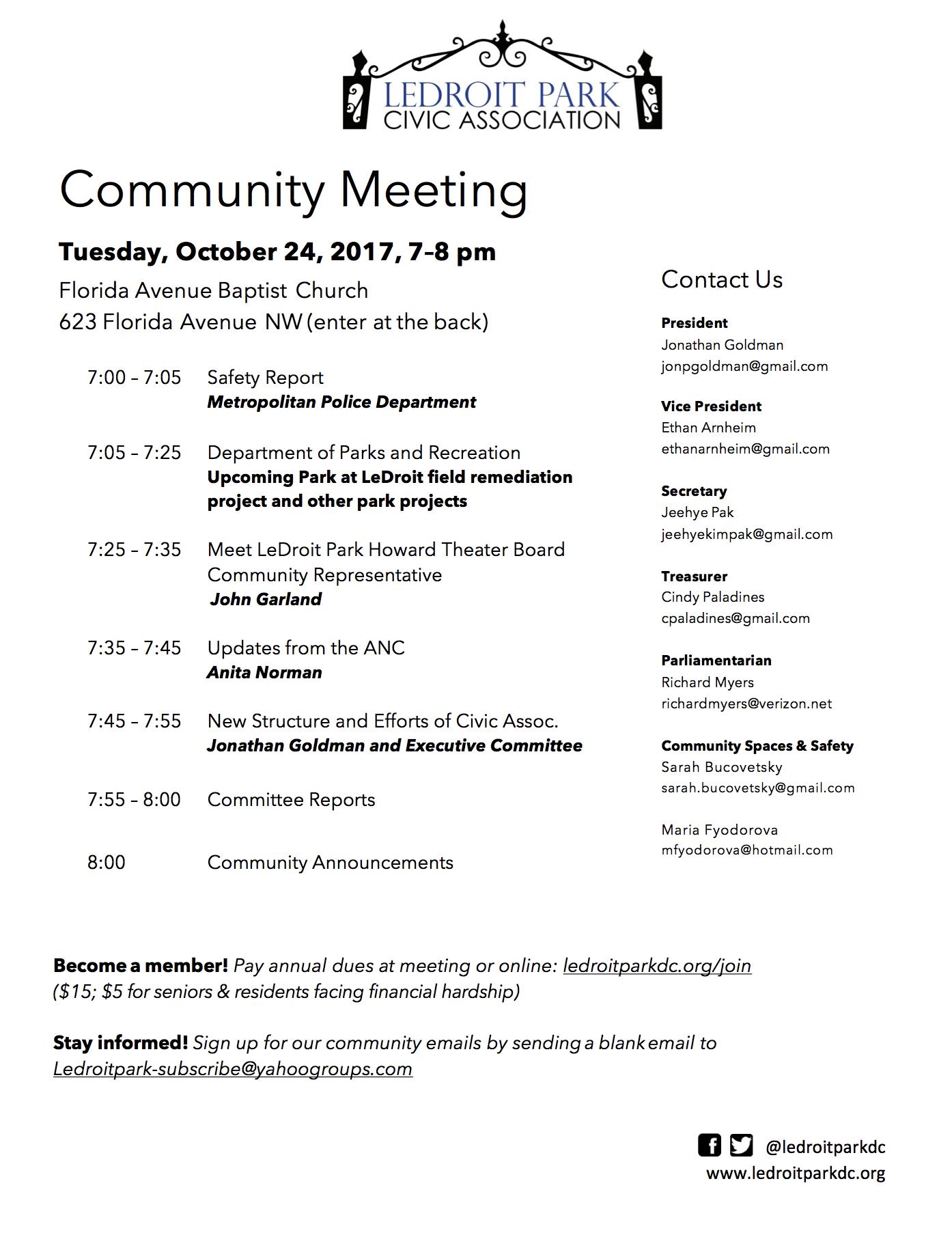 october 2017 meeting agenda ledroit park civic association