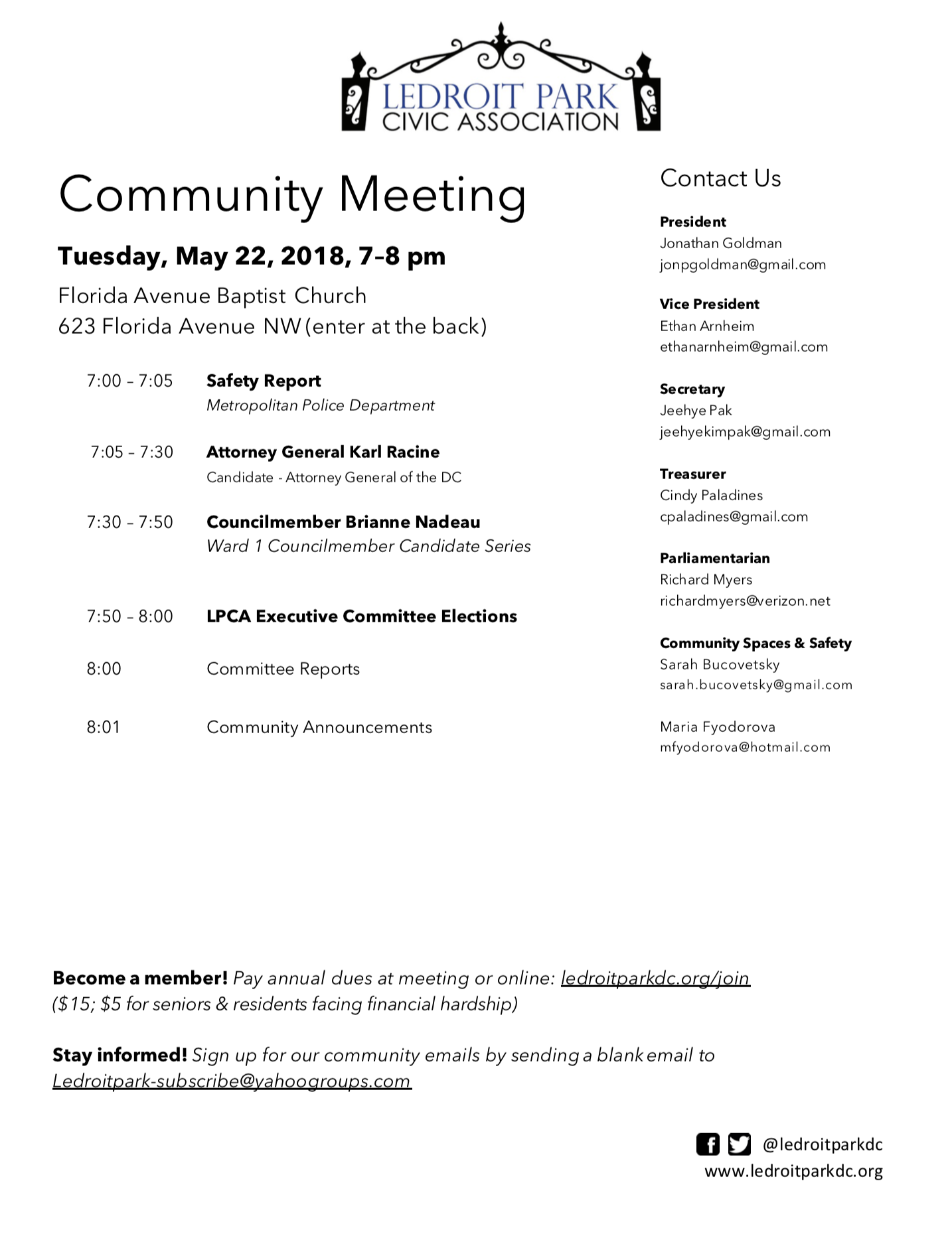 May 2018 Meeting Agenda