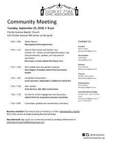 September Meeting Agenda