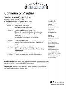 October 23 Community Meeting