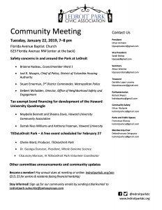January 2019 Meeting Agenda