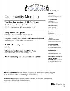September 2019 LPCA Meeting Agenda (Tuesday, Sept. 24, 7-8 PM)