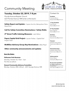 October 2019 LPCA Meeting Agenda (Tuesday, Oct. 22, 7-8 PM)