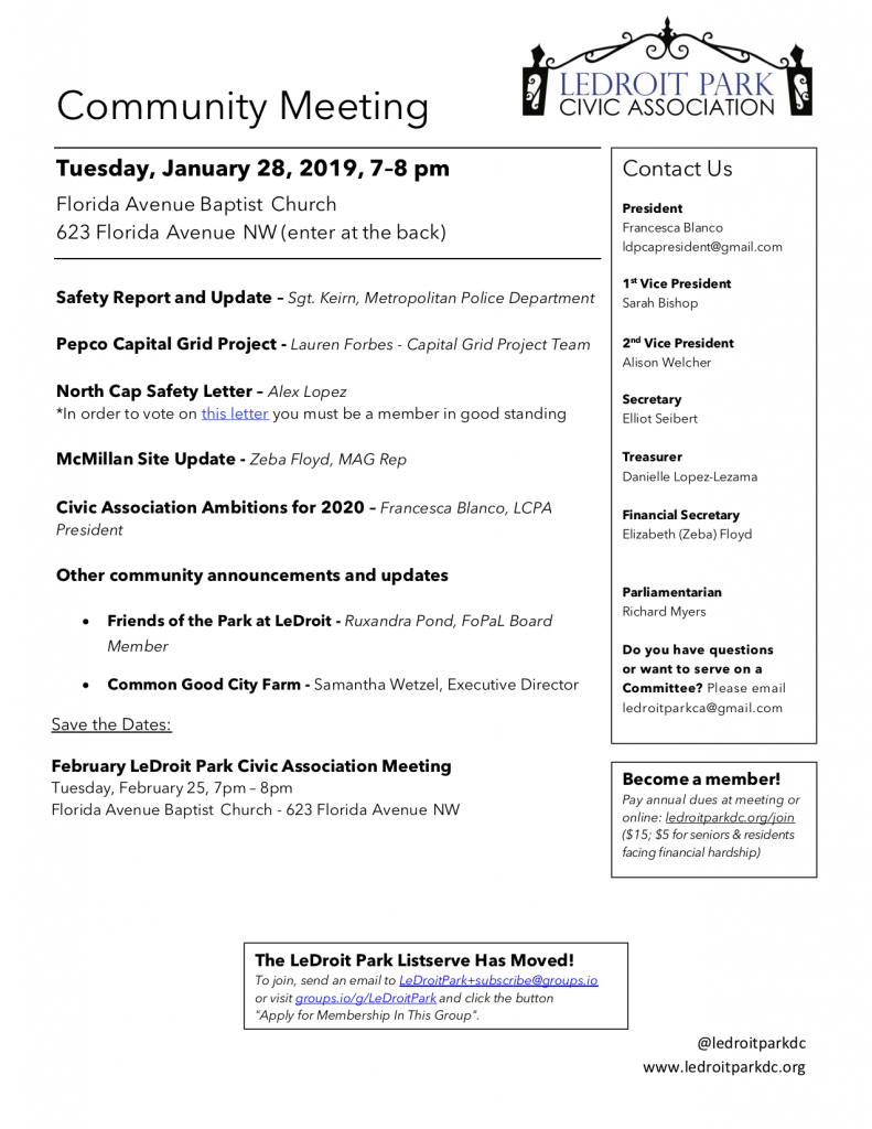January 2020 LPCA Meeting Agenda (Tuesday, Jan. 28, 7-8 PM)