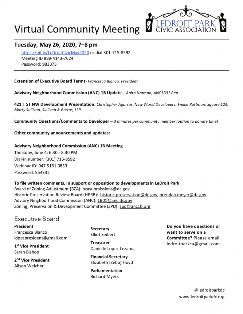 MAY 2020 LPCA MEETING AGENDA (TUESDAY, May. 26, 7-8 PM)