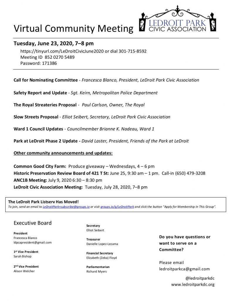 June 2020 LPCA Meeting Agenda (Tuesday, June 23, 2020, 7–8 pm)
