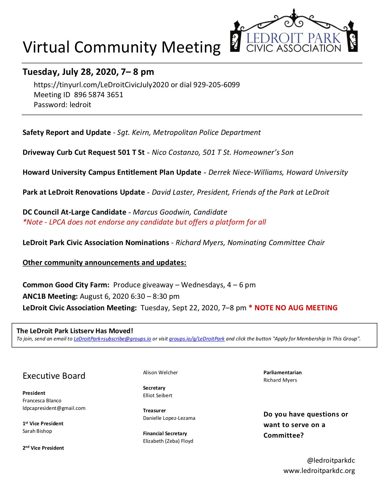 July 2020 LPCA Meeting Agenda (Tuesday, July 28, 2020, 7–8 PM)