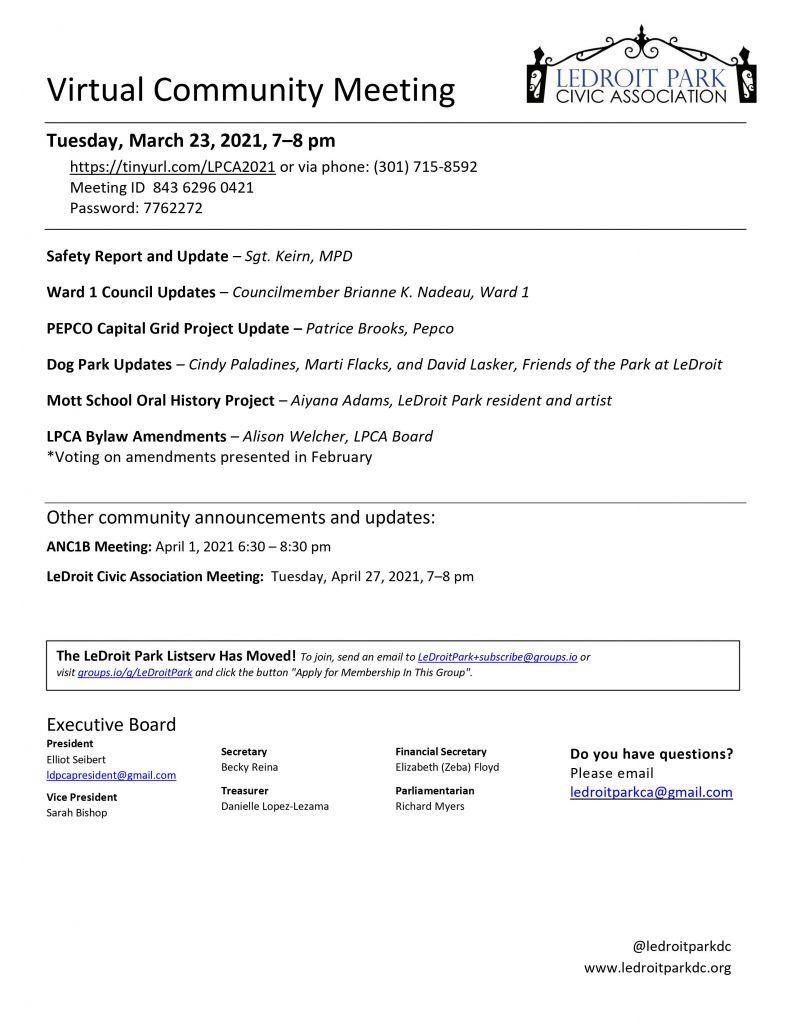 March 2021 LPCA Meeting Agenda (Tuesday, March 23, 2021, 7-8 PM)