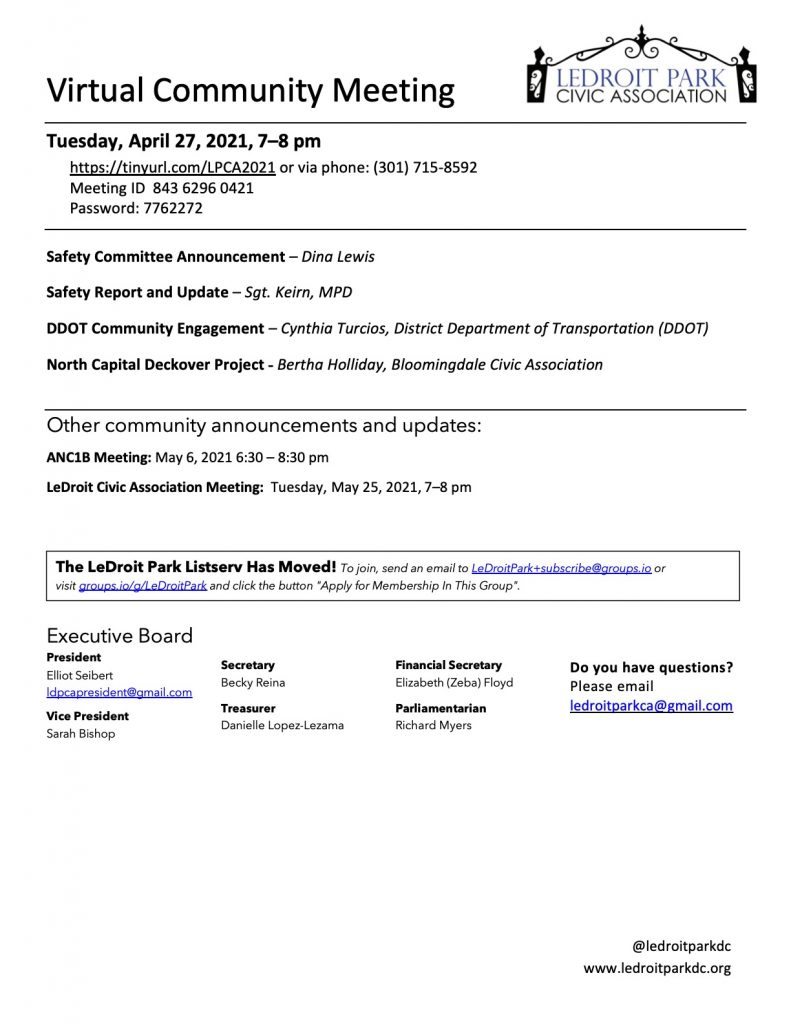 April 2021 LPCA Meeting Agenda (Tuesday, April 27, 2021, 7-8 PM)