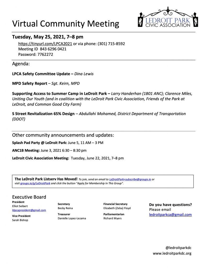 May 2021 LPCA Meeting Agenda (Tuesday, May 25, 2021, 7-8 PM)