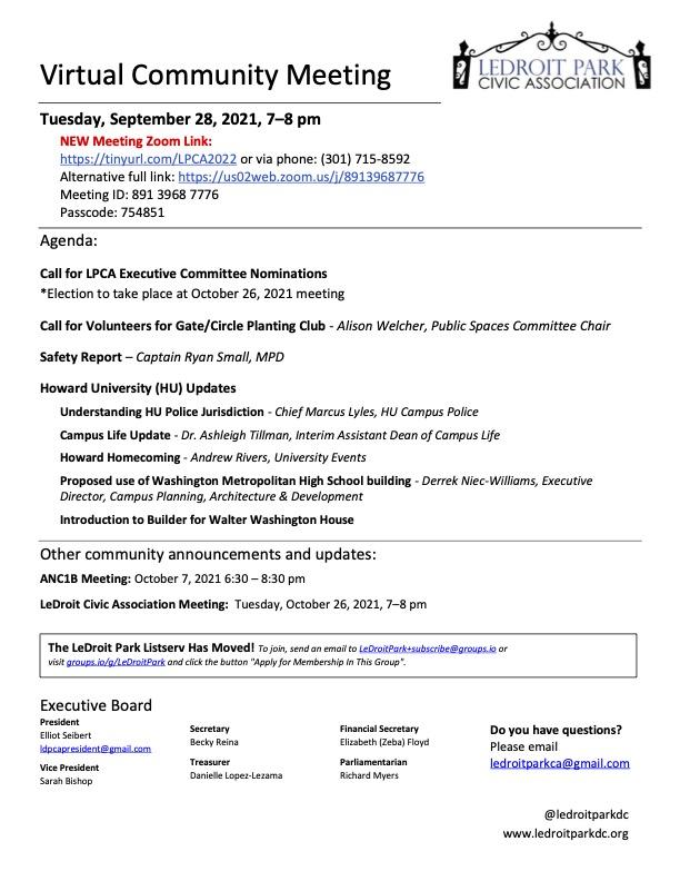 September 2021 LPCA Meeting Agenda (Tuesday, September 28, 2021, 7-8 PM)